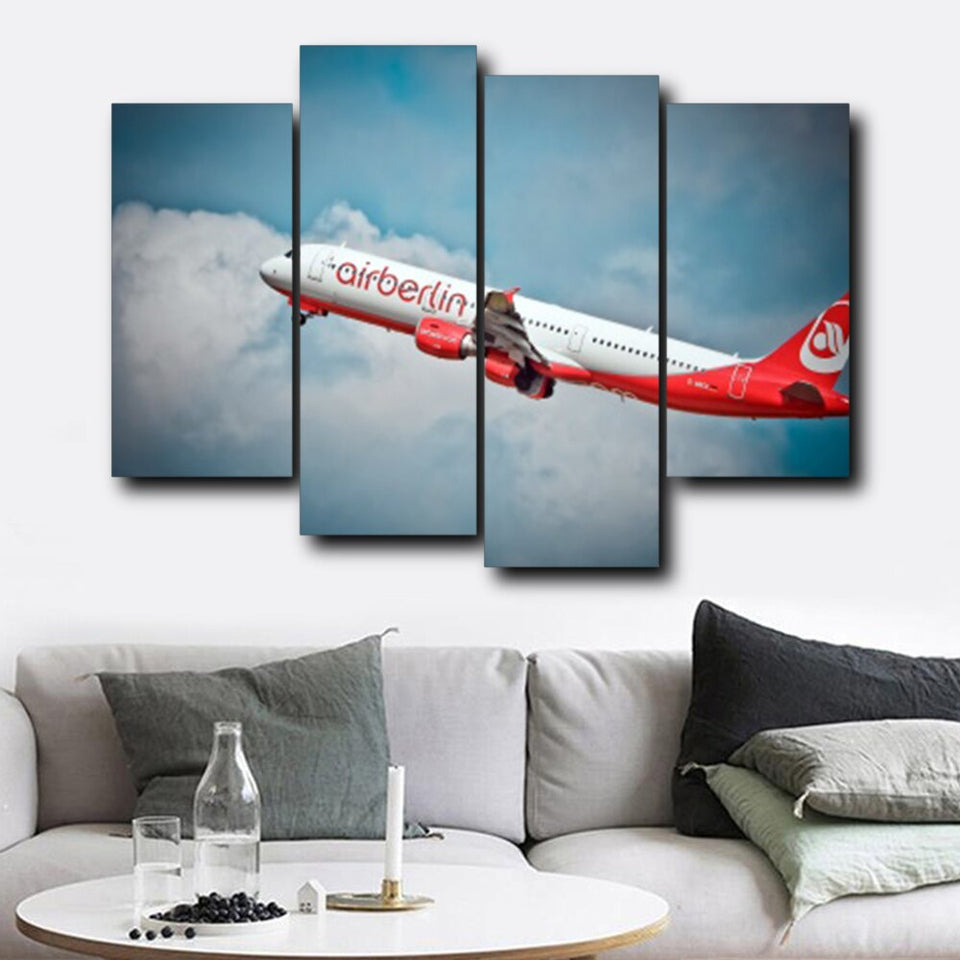 Airplane Blue Sky Cloudy Canvas Oil Poster Prints Living Room House Wall Decor Art Painting Home Decoration Picture