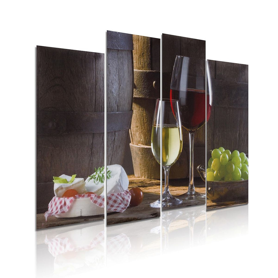 Wall Art HD Print 4 Panels Red Wine Canvas Painting Grape Cup Pictures Living Room Kitchen Decoration Home Decor