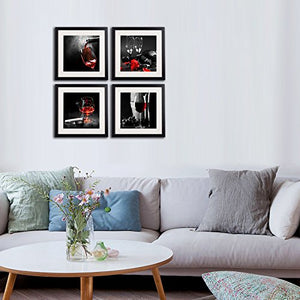Wine And Grapes Wall Art Living Room Decor Black White And Red Rose Canvas Paintings 4 Piece