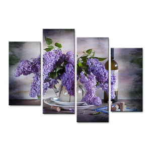 Modern 4 Pieces Canvas Art Wall Still Life Painting Lilac In Vase Wine Home Decor Wall Pictures Living Room