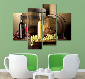 4 Pieces Modern Canvas Painting Wine Barrel Artwork Wall Art Painting Living Room Bedroom Home