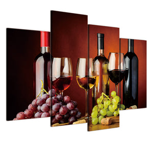 4 Piece Canvas Painting Grape Wine Alcohol Glasses HD Posters Prints Painting Living Room