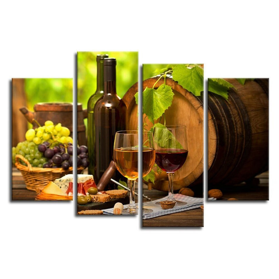 Kitchen Wall Art Canvas Artwork Fruits Grapes Wine Bottle Poster Canvas Painting Pictures Wall Decoration 4 Piece