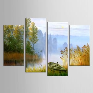 4 Piece Painting Canvas Painting Landscape Boat In The River Canvas Art
