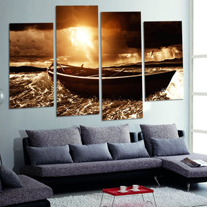 Painting Print Poster Wall HD Decor Art 4 Pieces Boat Beside The Sea Canvas Modular Pictures