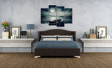 Visual Art Decor 4 Piece Full Moon Pictures Boat Ocean Seascape Painting on Canvas Moonlight Sky Night Poster