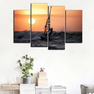 Sailing Boat Scenery Paintings Home Decor Wall Pictures HD Printed 4 Piece Canvas Art Ocean Sailboat Landscape
