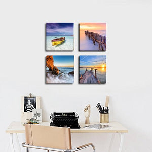 4 Pieces Seaside Landscape Boat Sunset Painting Print Canvas Modern Home Wall Art Decoration