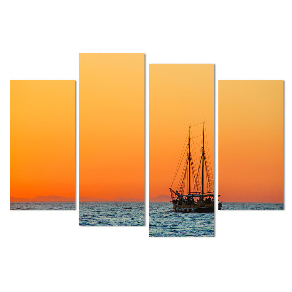 Canvas Painting Poster Wall Art Living Room 4 Piece Sailing Boat Sunset Scenery Modern HD Printed Pictures
