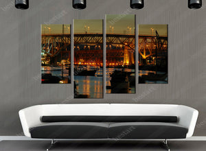 4 Pieces Night Boat Wall Art For Wall Decor Home Decoration Picture Paint Canvas Print Painting