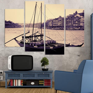 4 Pieces Antique Sailing Boat Sea View Picture Painting Home Decorative Art Landscape Print Painting Posters