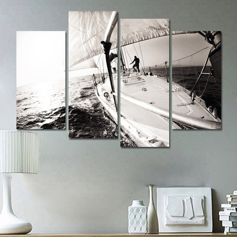 Wall Art Pictures Home Decoration Posters Living Room 4 Pieces White Boat Sea Level Landscape Modern Painting Canvas