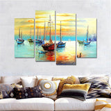 4 Pieces Sail Boat Paintings Decoracion Wall Art Canvas Modular Picturess Living Room Nordic Home Decor