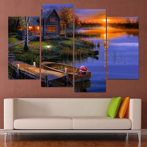 4 Piece Canvas Painting Evening Lake Boat Lodge HD Printed Canvas Art Prints Home Decor Poster Pictures