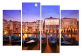 Canvas Painting 4 Piece Art Venice Gondola Boats HD Printed Home Decor Wall Art Poster Picture