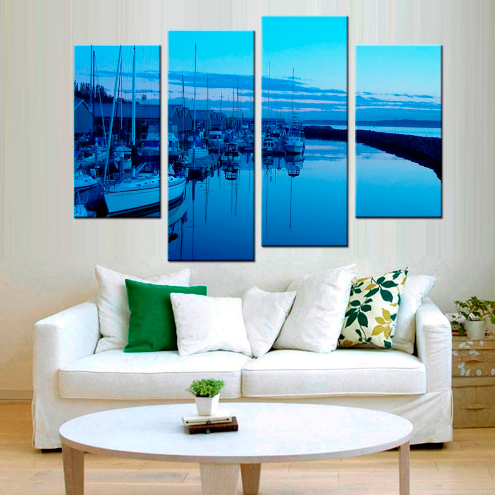 Home Decor Canvas Printed Picture Wall Art Modular 4 Pieces Sea Boat Painting Beach Seascape Poster HD