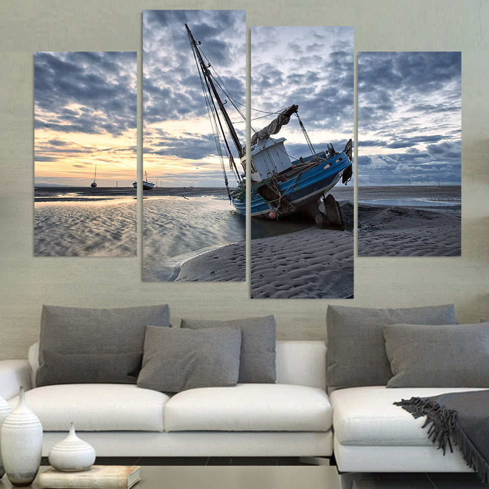 4 Piece Canvas Art Canvas Painting Boats Sand Seascape HD Printed Wall Art Home Decor Poster Wall Picture