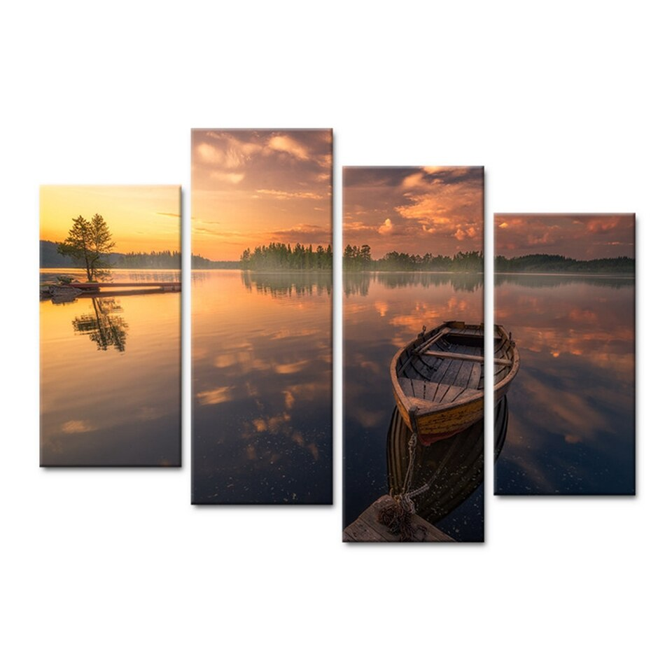 Canvas Wall Art Pictures Home Decor 4 Pieces Ocean Wooden Boat Woods Sunset Landscape Painting Poster