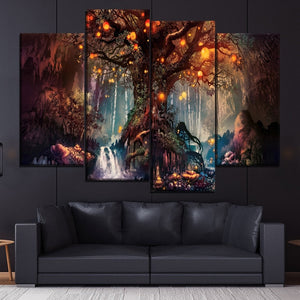Forest Fantasy Luminous Painting 4 Piece Style Picture Canvas Printing Type Modern Home Decor Wall Artwork