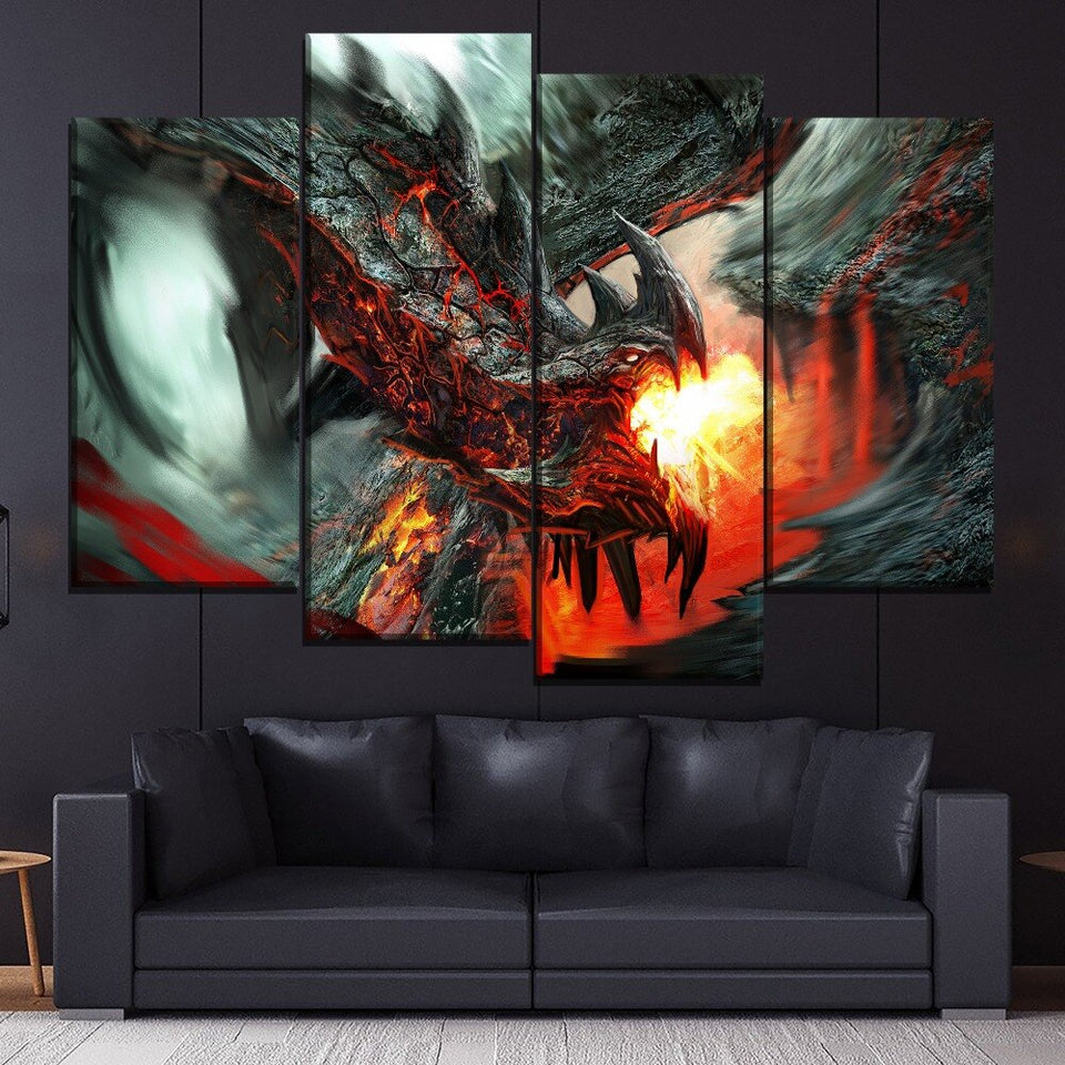 Fire Dragon Fantasy 4 Piece Style Modular Picture Canvas Printing Type Modern Home Decorative Wall Artwork