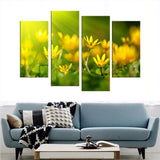4 Pieces Still Life Pictures Print On Canvas Abstract Wall Pictures Living Room Wall Art Yellow Flower Paintings