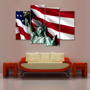 4 Piece Independence Day Festival Decoration Picture American Flag Poster Statue Liberty Wall Art Painting