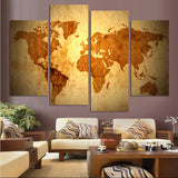 4 Piece World Continent Map Wall Painting Modern Home Wall Decor Canvas Art HD Print Painting