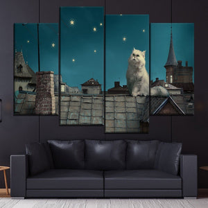 Night Sky Stars White Persian Cat Fairy Tale Fantasy Painting 4 Piece Style Picture Canvas Print Wall Art Poster