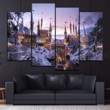 Fantasy Winter Castle 4 Piece Style Modular Picture Canvas Printing Type Modern Home Decorative Wall Artwork