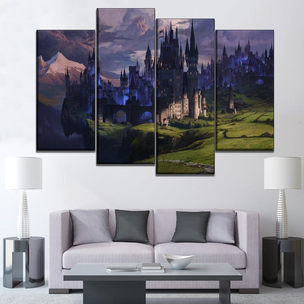 Modern Print Type Canvas Artwork One Set 4 Piece Fantasy Snow Mountain And Castle Picture Living Room