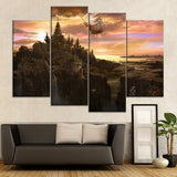 HD Print Type Pictures Home Decor 4 Piece Fantasy City Ship Sky Waterfall Canvas Painting Bedroom Wall Art Poster