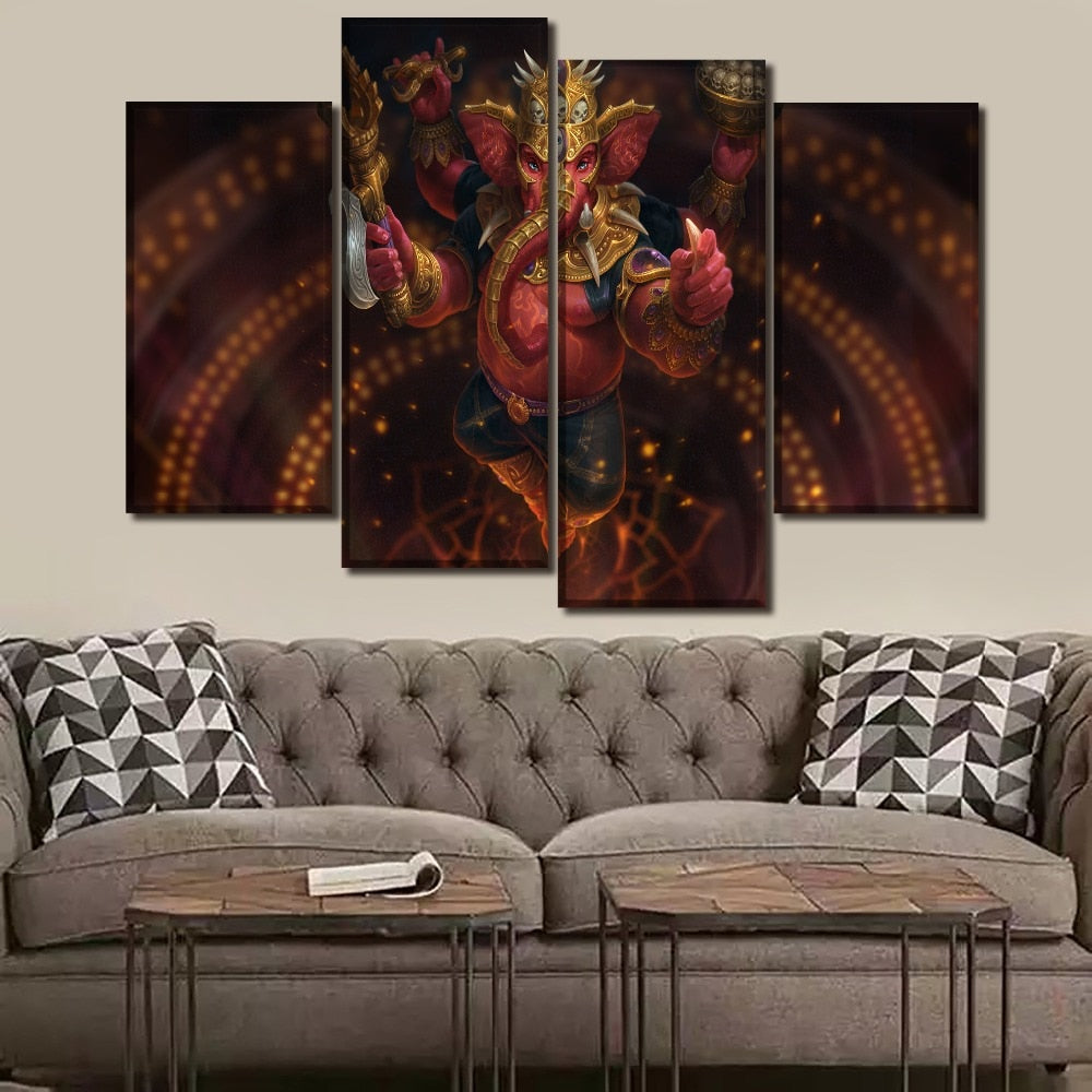 HD Printed Pictures Wall Art Canvas Poster Home Decor 4 Piece Lord Ganesha Indian God Paintings