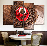 Canvas Wall Art Poster Living Room Home Decor 4 Piece Heart Shaped Put Coffee Beans Paintings HD Prints Pictures
