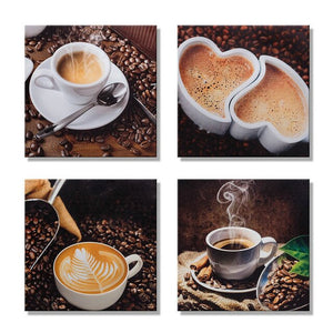 4 Piece Canvas Art Coffee Kitchen Modern Abstract Painting Wall Pictures Living Room Decoration Pictures