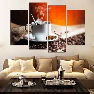 4 Piece Wall Painting Coffee Art Poster Canvas HD Home Decorative Art Picture Paint Canvas Prints