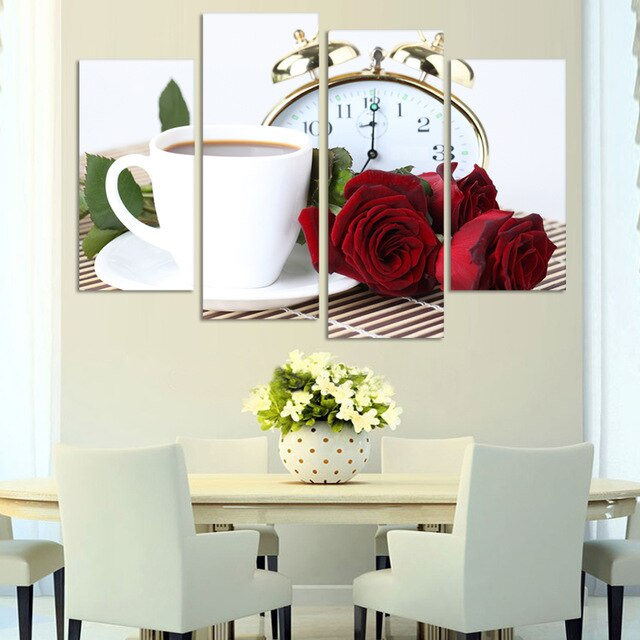 4 Pieces Modern Wall Art Coffee Kitchen Still Life Home Decorative Picture Prints Canvas Printed Painting