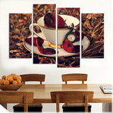 Kitchen 4 Piece Wall Modern Nostalgic Coffee Flower Painting Home Picture Paint Canvas Prints Decor
