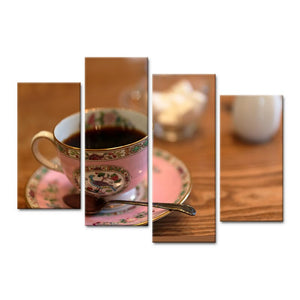 Modern 4 Pieces Canvas Art Wall Still Life Painting Coffee Cup On Table Home Decor Wall Pictures