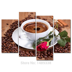 4 Piece Coffee Red Rose Painting Modern Home Wall Decor Canvas Picture Art HD Print Painting 4 Canvas Arts