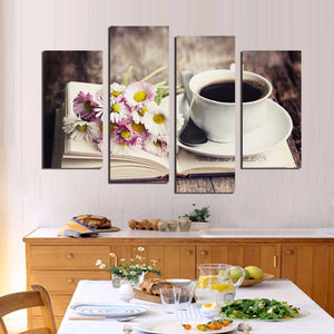 4 Piece Flower Coffee Tea Modern Canvas Print Painting Wall Art Modular Pictures Decor Kitchen Room