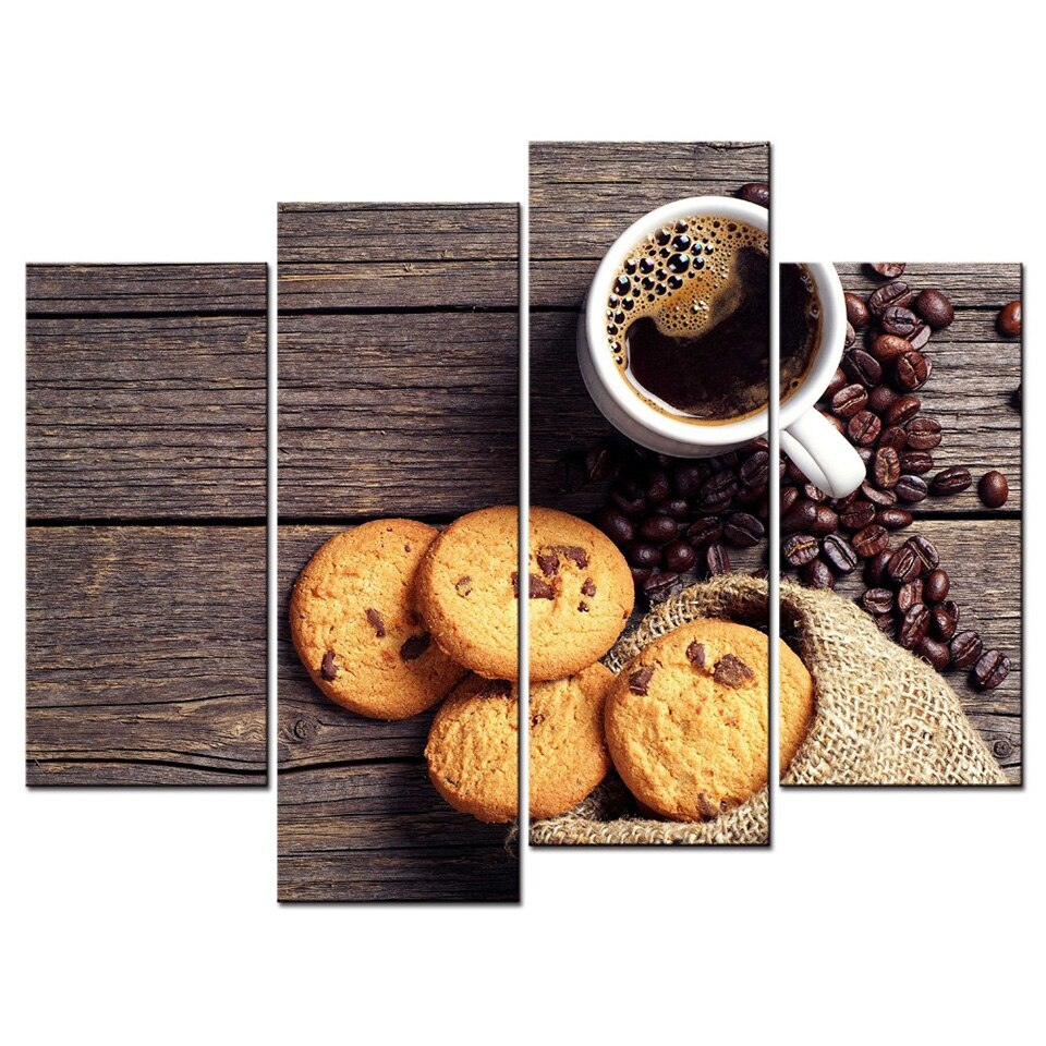 Modern HD Printed Pictures 4 Piece Coffee And Cookies Wall Art Home Decor Canvas Painting Poster