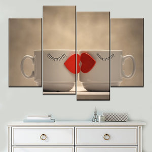 Canvas Painting Wall Modular Pictures Living Room 4 Piece Kiss Lips Love Hearts Interesting Coffee Mugs Poster