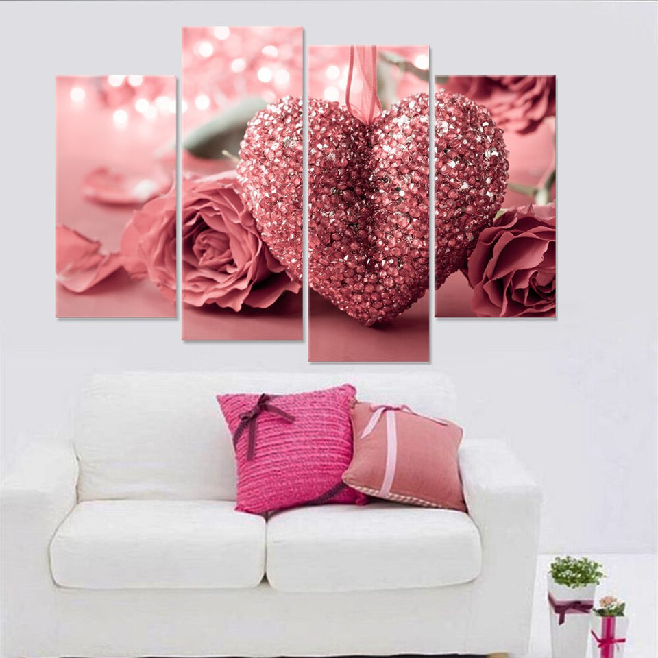 Canvas Painting Rose Oil Picture Flower Red Loving Heart Home Decor Modern Wall Art 4 Pieces