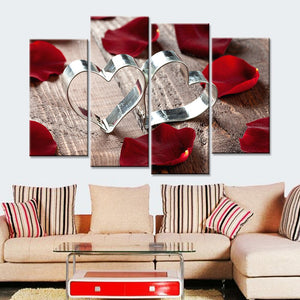 Love and Rose Flower Print on Canvas Art Painting Poster Wall Modular Pictures Living Room 4 Pieces