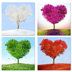 Paintings On Canvas Wall Art Home Decor 4 Pieces Loving Trees Pictures Living Room HD Prints Purple Heart Trees