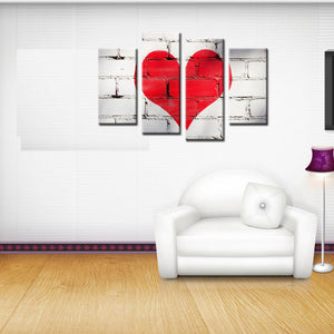 4 Piece Canvas Art Numbers Red Love Heart Canvas Home Decoration Wall Decor Modern For Bedroom