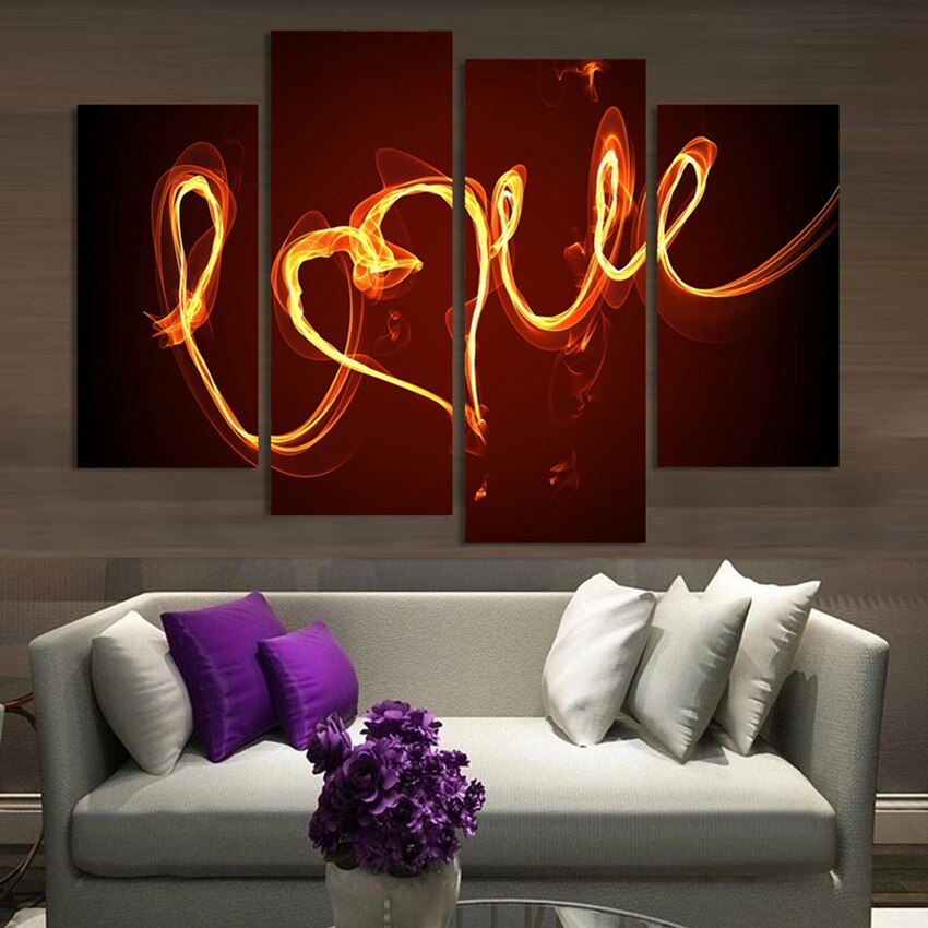 4 Piece Home Decor Oil Painting LOVE HD Print on Canvas Wall Art Picture Living Room