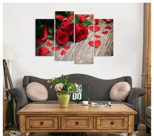4 Piece Canvas Art Love Figure Posters Prints Flower Picture Shape Love Red Rose Wall Art Painting
