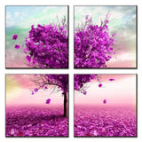 4 Pieces Purple Heart Love Tree romantic Canvas Abstract Flower Painting Room Wall Beautify Sideboard Pictures