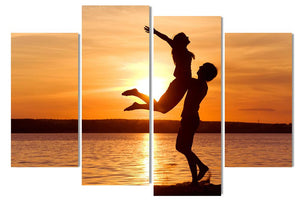 4 Pieces Lovers Sunset Embrace Seaside Love Modern Wall Art Decor Home Decoration Paint Canvas Prints